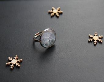 Rainbow glass cabochon ring