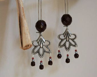 Garnet and Silver earrings, prints and glass beads