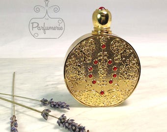 Gold Circular Old World ATTAR Oil Oud PERFUME Cologne Bottle 12ML Gift Wholesale Exotic Arabian Anniversary Potion Wedding Antique
