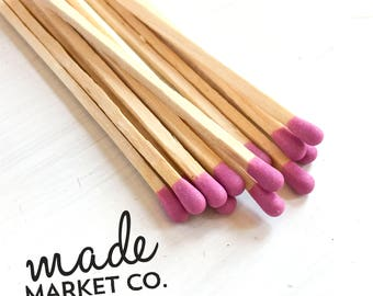 Fuchsia Pink Colored Tip Matches. Match Sticks Refills Unbottled 50 Count Farmhouse Home Decor Gifts for Her Best Seller Most Popular Item