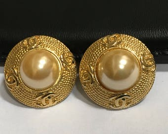 Chanel Earrings Clip On CC Goldtone Faux Pearl 70s Designer Jewelry Vintage Christmas