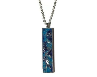 Drop pendant, drop necklace, bar pendant, pendant necklace, boho, under 20, turquoise pendant, skinny pendant, silver pendant necklace