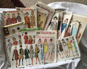 Lot of 16 - 1960's Vintage Sewing Patterns, various sizes