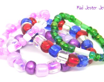 Adorable Stretch Rings: Pink, Purple, Green, or Patriotic! Flexible, Glass Bead, Seed Bead, USA, America, Olympics, Toe Ring, Stretch Ring