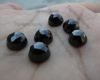Black Spinel 8MM Rose Cut Gemstone - 8MM Faceted Cabochan Black Spinel Stone - 8MM Spinel Rose Cut Gemstone
