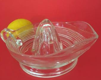 Vintage Clear Glass Anchor Hocking Depression Glass Manhattan Juicer Reamer, Depression Era Reamer, Large Glass Reamer