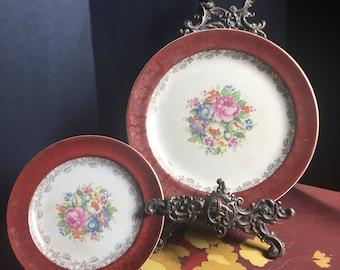 Unique Backstamp, Salem China Co, 23 Karat Gold, Floral Plates