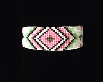 Bracelet Miyuki beads - pink green white silver