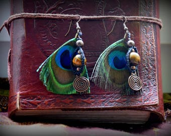 Macrame, Peacock feather and stone earrings