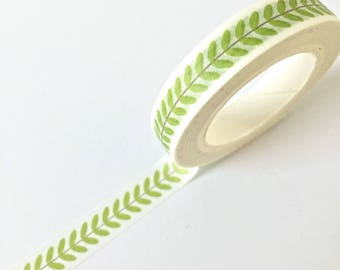 Cute small thin roll Washi Tape with Leaf print // Decoration Adhesive DIY Masking Bullet Journal Craft Plants Green Flora