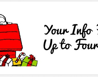 30 Customized Cute Christmas Snoopy Party Address Labels! ANY info you want!