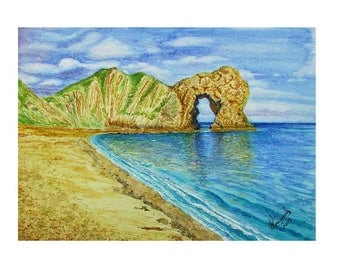 A4 Giclée Print entitled 'Durdle Door' from an original watercolour painting by artist Martin Romanovsky