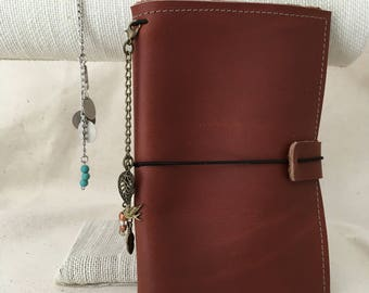 Leather travel notebook cover