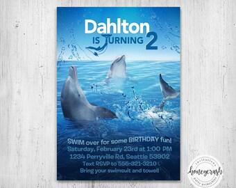Dolphin Tale Birthday Invitation - Printable Digital File