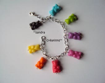 Bracelet charms bears all the Rainbow colors