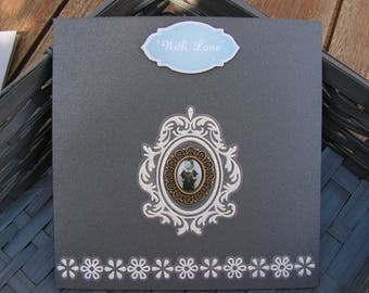 """Card """"with love"""", grey and white Garland"""