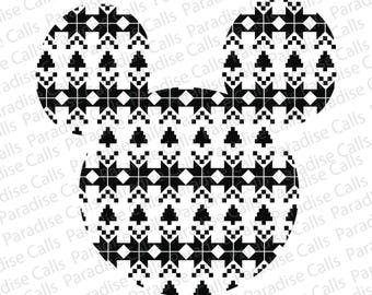 Mickey Christmas Sweater Design Digital Download Cut File for Silhouette or Cricut, SVG, DXF, EPS