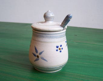 Handmade ceramic mustard, grey/blue flowers