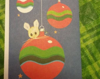Vintage Greeting Card - Christmas Greeting Card - Gordon Fraser - 1970s - Cute Mouse On Christmas Ornament