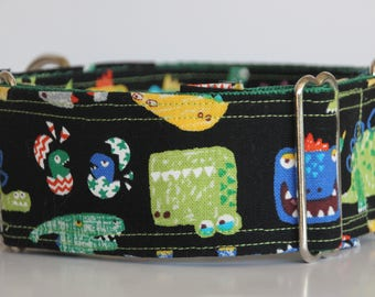 "Greyhound - Black dinosaurs 2"" Martingale Collar"