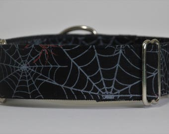 "Greyhound - Cobwebs on black 1.5"" Martingale Collar"