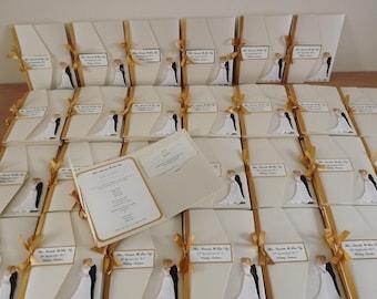 1 x Pocketfold sample Wedding Invitations ( Bride & Groom design )