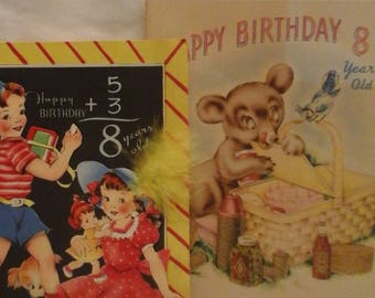 Vintage  8th birthday  greeting  cards