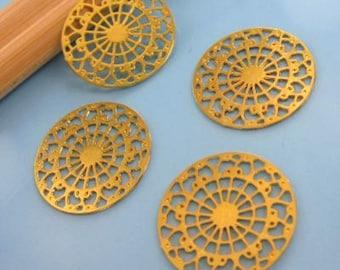 4 prints pendants gold - rose - Diam: approx 15mm # P23