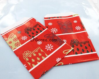 25 pockets gift glossy red Christmas Decor - Sun 7X12cm bag