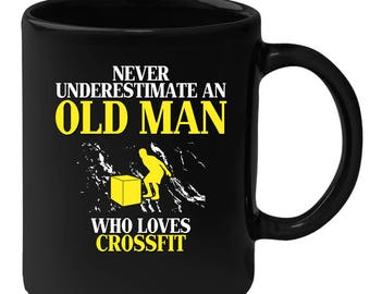 Old man who loves Crossfit Gift, Papa Gift, Grandpa Gift, Mug for Gramps Mug Papa Present, Dog Lover, Christmas gift, Father's day