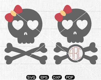 Bow Skull SVG Files, Skull Monogram Frame svg, Skull Clipart, cricut, cameo, silhouette cut files commercial & personal use