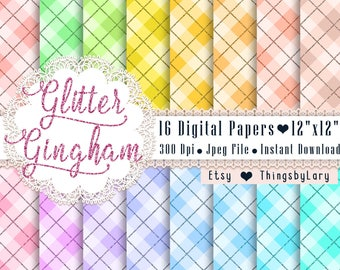 16 Glitter Gingham Pattern Papers 12x12 Inch, Jpeg File, Instant Download, High Resolution 300 Dpi, Commercial Use, Seamless Pattern
