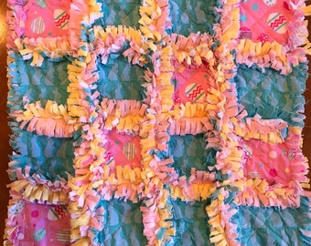 Easter Baby Blanket / Gift for Easter / Lovey / Rag Quilt / Minky / Bunnies / Easter Eggs / Handmade / One of a kind / Ready to ship / Free