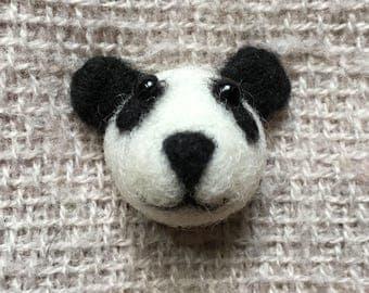needle felted panda bear brooch / push pin