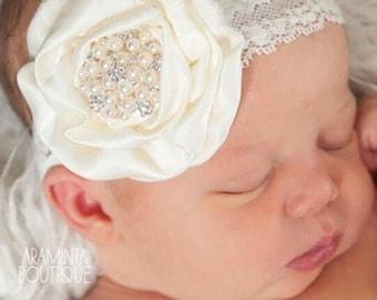 Baby Headband/Pearl Headband/Girls Headband/Baby Photoprop/Baby Hair Accessory/ Childrens Headband/ White Headband/ Ivory Headband