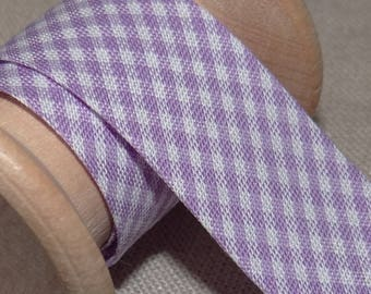 Through purple and white gingham, width 20 mm