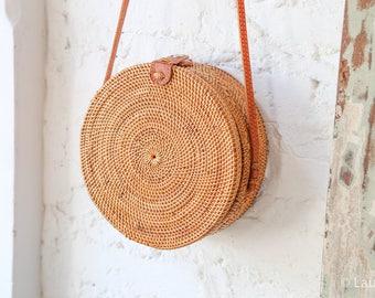 ratan bag, straw bag, basket bag, ata bag, round rattan bag, market bag, woven basket bag