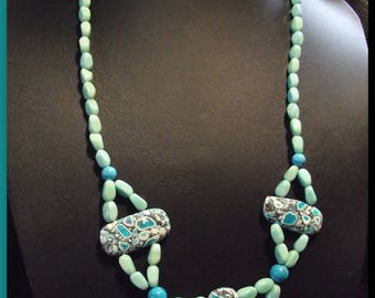 Turquoise necklace beads glass and Howlite necklace unique flower clasp