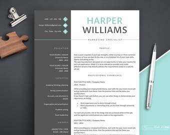 Modern Resume Template with Cover Letter, Resume Template, Professional Resume Template Instant Download, Creative Resume