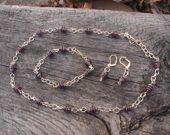 Handmade wire wrapped?coiling  Cage  Jewlry set