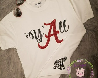 Y'ALL Southern Alabama Shirt/Glitter vinyl/Checkered Elephant shirt/Boutique Glitter Shirt/Preppy Football shirt/Cute Girlie Alabama Shirt