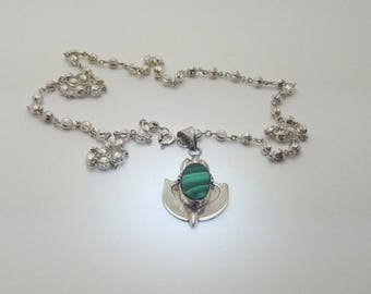 Malachite Sterling Silver Vintage Pendant Necklace on 20 inch ball Sterling Silver chain/Handmade/Free Shipping US/Christmas/Birthday