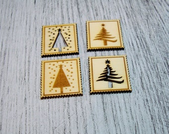 Set of 4 stamps Christmas 1051 one cutting wood for your cards