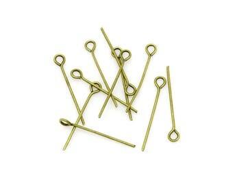 lot de 100 clous tiges à tête boucle 16 mm métal bronze