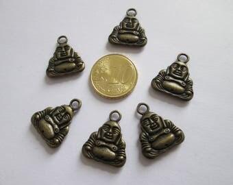6 breloque bouddha en métal couleur bronze 20 X 17 mm