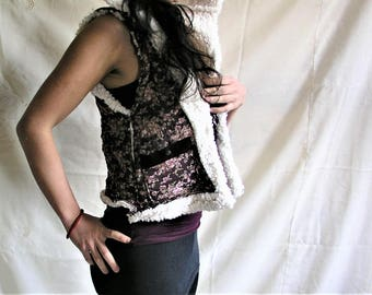Women's gilet- Clothing-flowers-clothing-woman's jacket-vest hood-synthetic wool-cotton-winter-jacket-clothes-gipsy-woman
