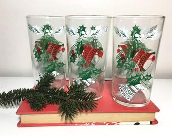 Vintage Hazel Atlas Holiday Bells Cups - Set of 3