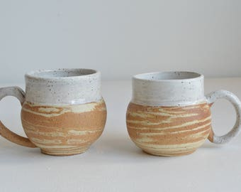 Set of 2 Handcrafted Marbled Ceramic Mugs