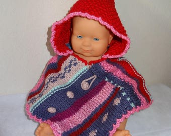 Pancho original birth knit lined with a cotton with hood