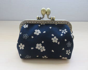 Coin purse clasp, Navy Blue Japanese fabric with beige flowers